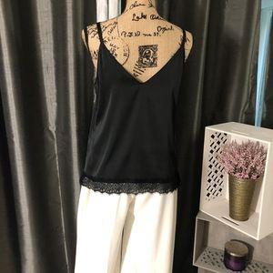 White House Black Market Tops - White House Black Market Black Silk Lace Trim Cami